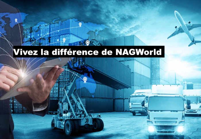 """Chantier naval en arrière-plan avec la légende """"Vivez la différence de NAGWorld"""""""